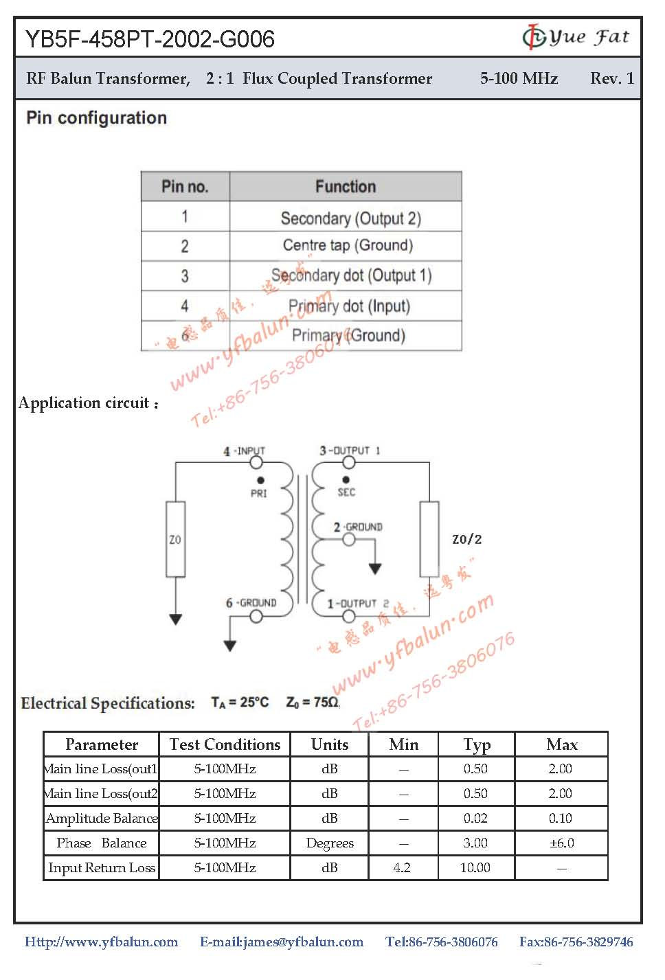 2:1 Flux Coupled Transformer 5-100MHz_Yangxi YueFat Industrial Co ...